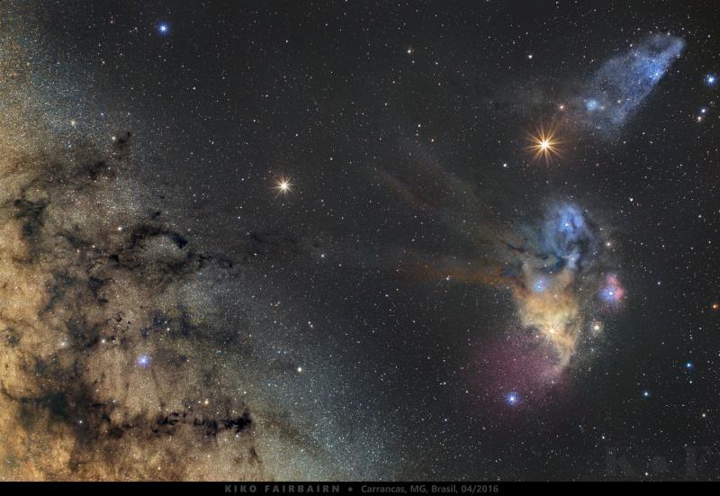 زحل و مریخ در کنار ابر های کهکشان راه شیری