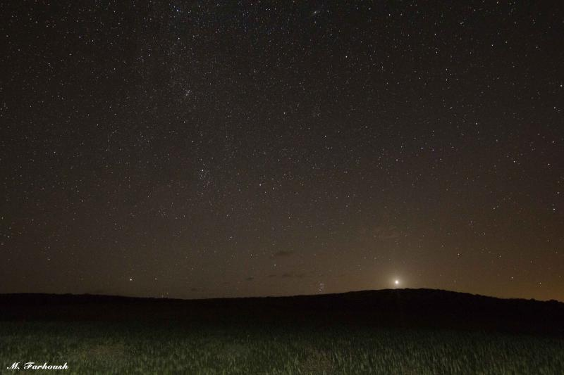 طلوع سیاره زهره در کنار خوشه پروین
