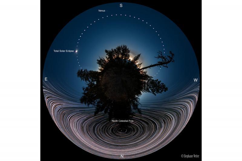 ترکیب پاناروما خورشید گرفتگی با رد ستارگان