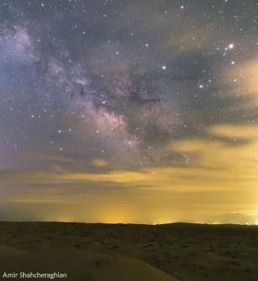 طلوع کهکشان راه شیری در کویر ابوزیدآباد