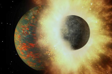 بوجود آمدن کربن زمین از برخورد با سیاره ای شبیه به عطارد