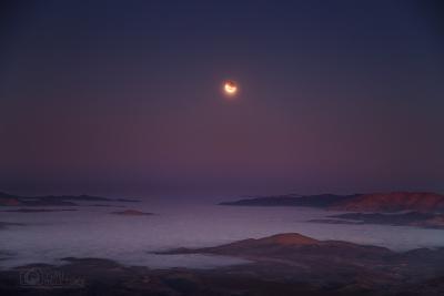 ماه گرفتگی در زمان غروب ماه