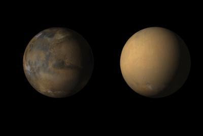 طوفان هایسراسری مریخ ستون هایی بلند از گرد و خاک را به آسمان می فرستند.