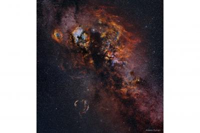 سحابیها و ستارهها در صورت فلکی قو